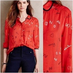NWOT Anthropologie Maeve Art House Print Top 4
